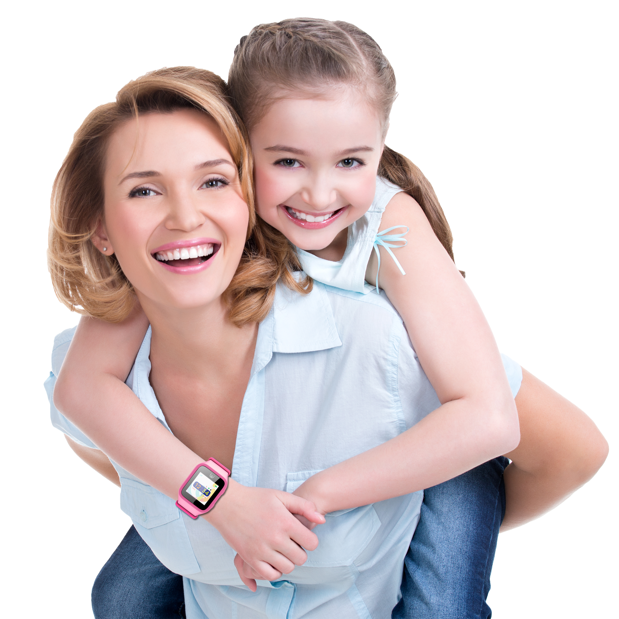 Happy mother and daughter enjoying GPS Wizard Watch