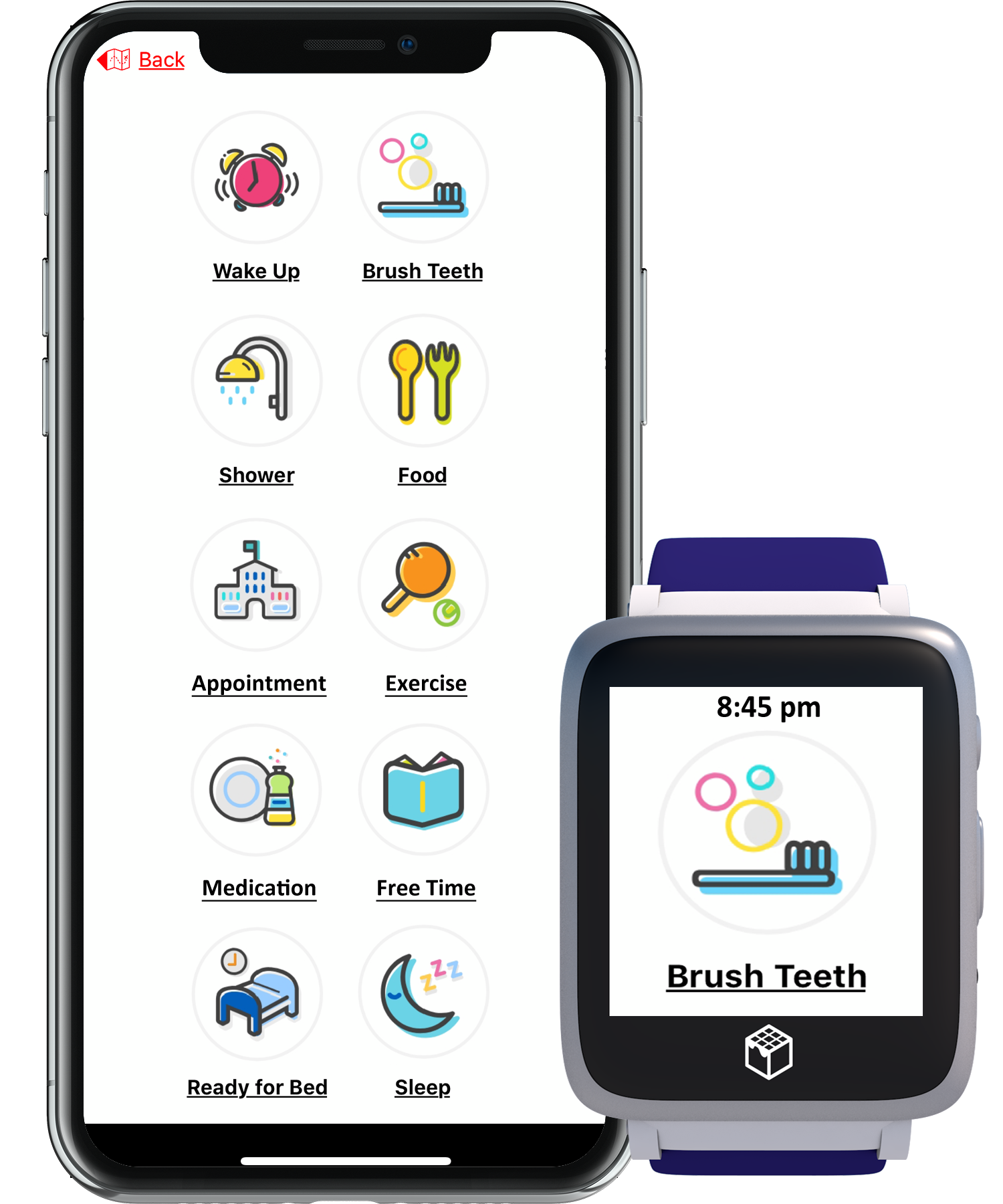iGPS Wearable Safety watch for seniors mobile app scheduler